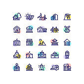 Architecture Real Estate Building Outline Icons