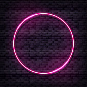 Vector brick wall illustration with pink neon lamp. Glowing circle bulb background