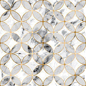 Seamless abstract geometric stone pattern with gold lines and gray marble segments circles on white background