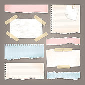 Vector set of paper pieces with torn edges. Collection of ripped notebook sheets, copybook pages, sticky tape and pin