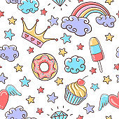 Fairytale seamless pattern with clouds, cupcake, donut, stars, rainbow and crown. Magic colorful background