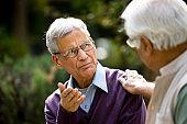 Two senior men discussing at park
