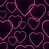 Love seamless pattern with pink neon heart shaped lamps. Glowing bulb background for Valentine's day