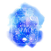 I need more space vector watercolor background with jar, constellations, planets, moon and stars