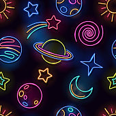 Seamless space neon lamps pattern. Glowing planets, sun, moon, comet and stars on black background