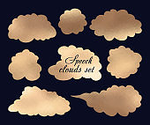 Gold metallic foil set of vintage banners and speech clouds