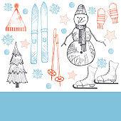 Winter hand-drawn vector background.