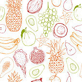 Vector seamless pattern  with fruits.