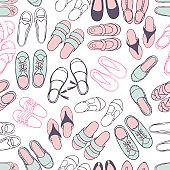 Women's summer shoes.  Vector  pattern.