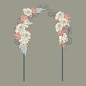 Wedding flower arch with roses and ribbons. Vector illustration.