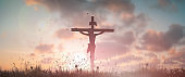 Silhouette Jesus christ death on cross crucifixion on calvary hill in sunset good friday risen in easter day concept for Christian praise for holy spirit religious God, Catholic praying background.