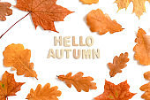 Autumn composition with quote Hello autumn made from wooden letters
