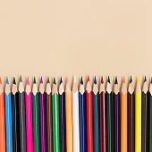Top view of colorful pencils. Back to school concept with copy space.