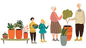Happy family gardening together, grandparents and children, people with houseplants, vector illustration