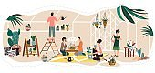 People in greenhouse, planting and watering decorative houseplants, vector illustration