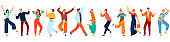 Happy people, young joyful laughing men and women dancing, jumping with raised hands isolated set of flat vector illustrations.