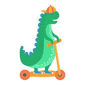 Fashionable, cartoon dinosaur ride on transport, fun scooter, vehicle, flat style vector illustration, isolated on white.