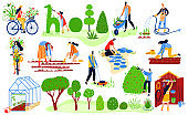 Gardening people set, spring eco garden, plants and gaderners work agriculture flat vector illustration Women and men watering plants.