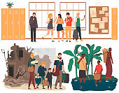 Social inequality, refugees and poor people, family escapes from war destroyed home, vector illustration