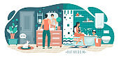 Family in bathroom, morning hygiene routine, people vector illustration