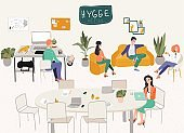 Freelancers office hygge workplace or home office with stylish c