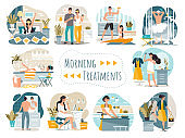 Daily morning routine of man and woman cartoon characters, vector illustration