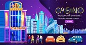 Casino in night city, people nightlife club entrance, skyline background for website, vector illustration