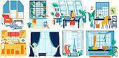 Windows in different interiors, home room, hotel apartment, artist studio and modern office, vector illustration
