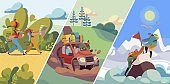 People travel to nature, hiking and mountaineering, road trip in car or trekking with backpacks, vector illustration