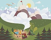 People camping outdoor, man and woman planning route to mountain top, vector illustration