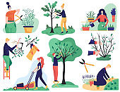 Gardening and cutting tree branches, cartoon vector illustration