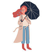 Miserable woman stands and cries from problems holding an umbrella associating fault, problem isolated on white vector illustration
