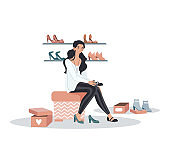 Woman character sitting store trying shoes, female fitting collection fashion boots isolated on white, cartoon vector illustration.