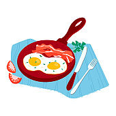 Morning traditional breakfast foodstuff, meal tomato, herb and griddle eggs bacon concept food isolated on white, cartoon vector illustration.