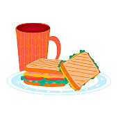 Tea cup with morning breakfast sandwich foodstuff on kitchen plate, bread burger ham and cheese luncheon isolated on white, cartoon vector illustration.