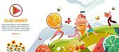 Hello summer vector illustration, cartoon flat happy tiny people enjoy summer with tasty ice cream, fresh fruits and berries in hands
