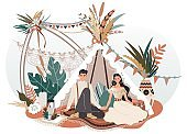 Romantic couple in boho style decorative tent, people vector illustration