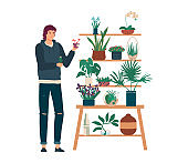 People in home garden vector illustration, cartoon flat man gardener character standing next to shelves with plants pot isolated on white