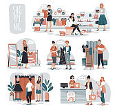 Woman shopping in fashion store, people in boutique, vector illustration