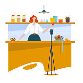 Woman blogger character, cooking stream online internet show, girl prepared food isolated on white, cartoon vector illustration.