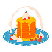 Pancake stack on plate, breakfast concept icon isolated on white, cartoon vector illustration. Appetizing sweet dessert pastry.