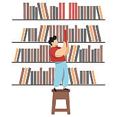 Boy in library takes book from shelf, cartoon character vector illustration