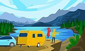 People travel in trailer vector illustration, cartoon flat man woman couple camper traveler character standing next to campervan car trailer