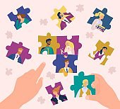 Leader organizes professional team flat vector illustration, cartoon human hands collecting puzzle with employees portraits background