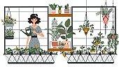 Woman watering houseplants on balcony, gardening hobby vector illustration