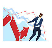 Economic crisis concept, falling financial stability vector illustration. Man in business suit panic, loss earnings and decrease