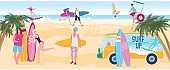 Surfing people enjoy summer vacation on ocean beach, young attractive boys and girls, vector illustration