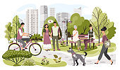 People in city park, weekend leisure in nature, vector illustration