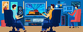 Men playing video games in modern gaming room, people vector illustration