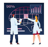 Man, woman doctor, future medicine, examination, analysis patient expertise data in isolation, on white, flat vector illustration.